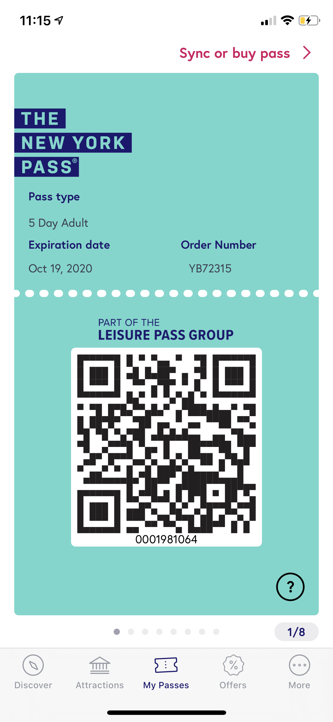 New York Pass Guide – QR code in app